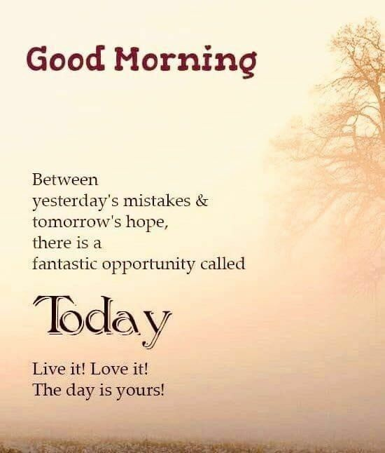 Good morning image with today quotes