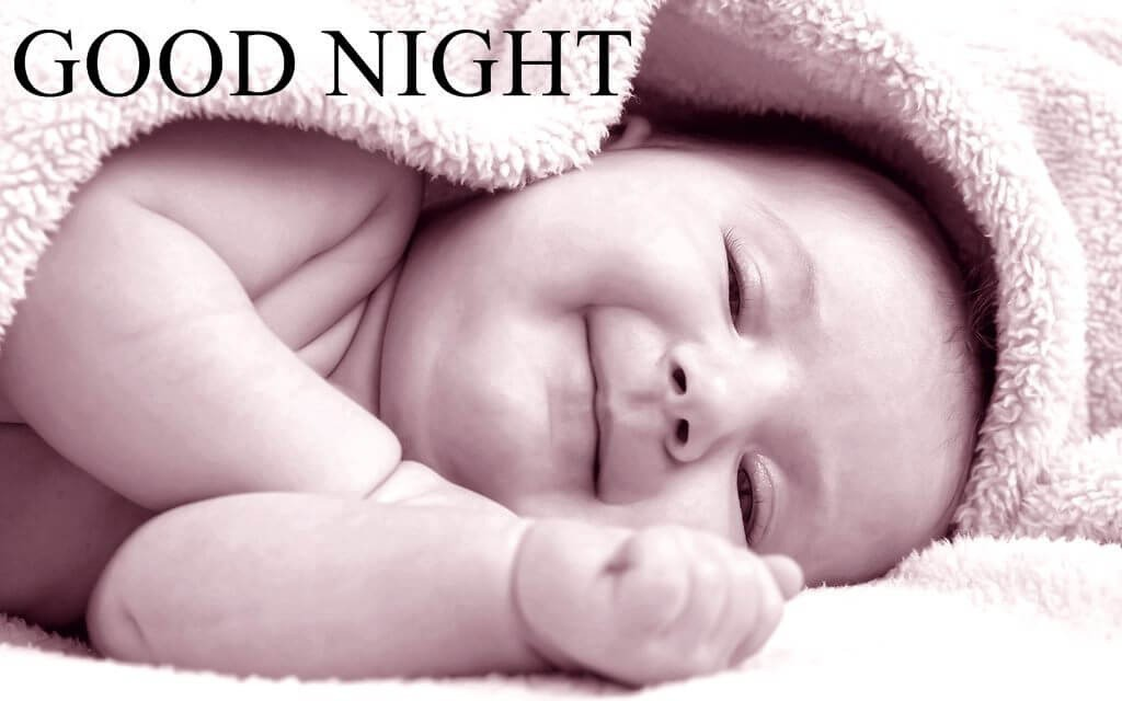 Good night image with cute baby