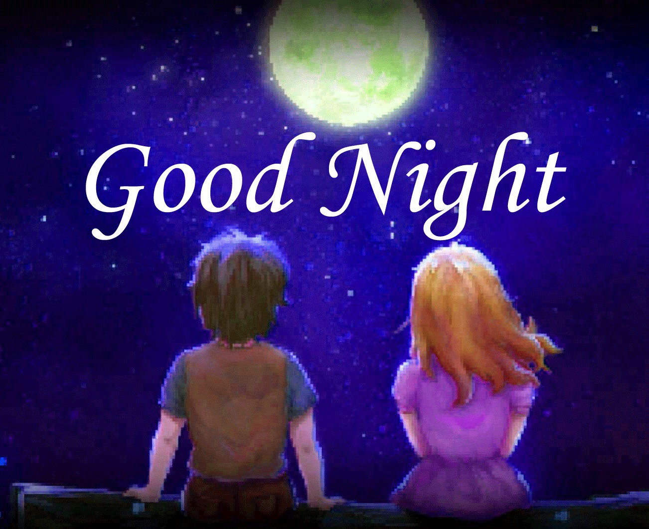 Good night image with girl and boy under moon