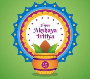 Happy Akshaya Tritiya with traditional Kalash image with coconut