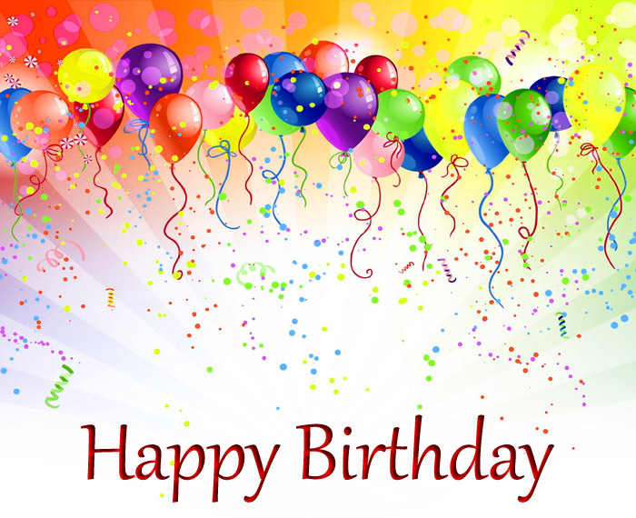 Happy Birthday with a colorful image