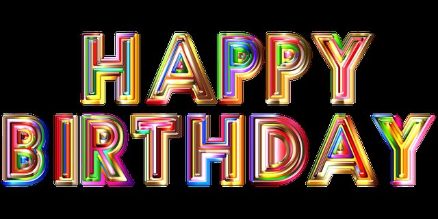 Happy Birthday wishes with colorful letters