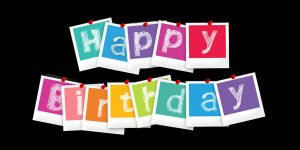 Happy birthday wishes with paper card letters
