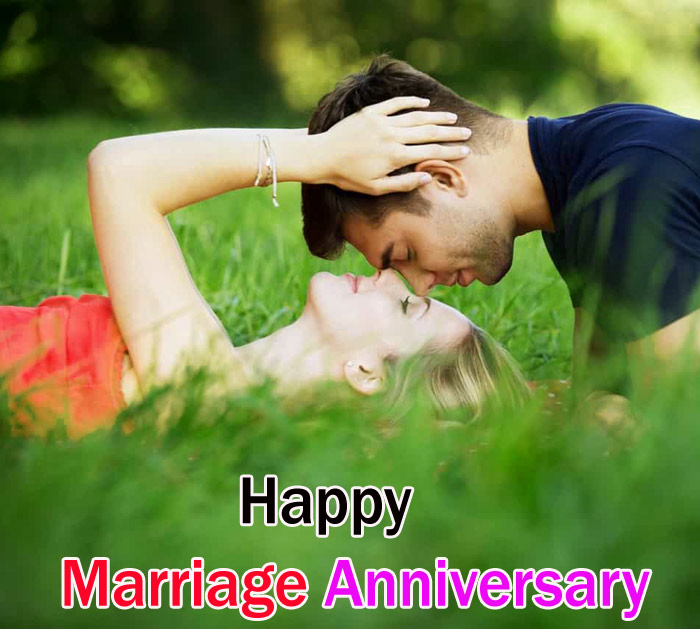 Happy marriage anniversary images with beautiful couples on the grass