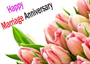 Happy marriage anniversary images with lovely Tulips flower