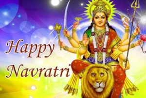 Happy Navratri images with Lord Maa Durga and Lion with sky background