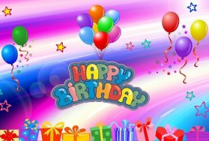 Happy birthday wishes with colorful balloons with rainbow background