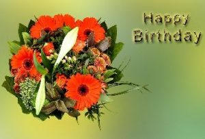 Happy Birthday wishes with colorful several flowers
