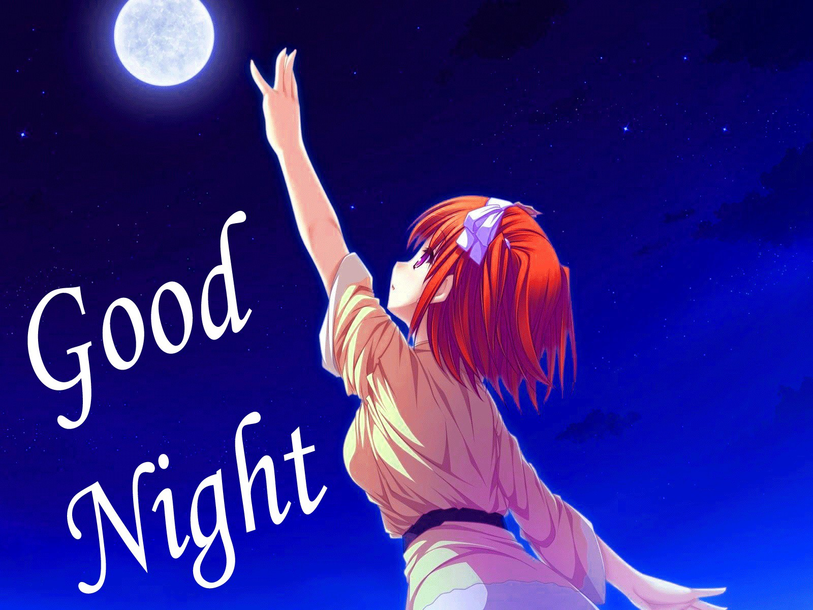 Image of good night moon image with cute girl