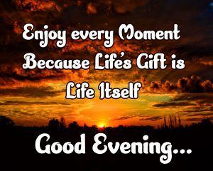 Beautiful Sunset Scene with Good Evening Message and Quote