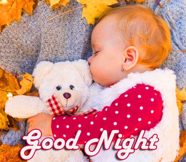 Cute Teddy Bear and Baby Good Night Picture