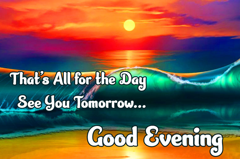 Good Evening Message with Colourful Sea Wave Background
