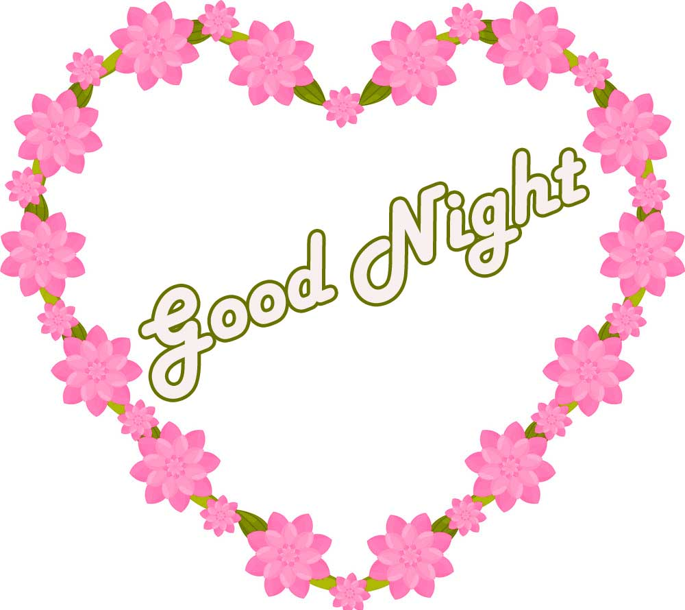 Pink Heart Good Night Picture