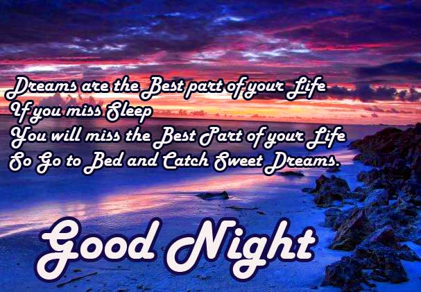 Quoted Good Night Image on Beautiful Sky