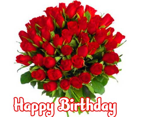Red Rose Bouquet Image with Happy Birthday Wishing