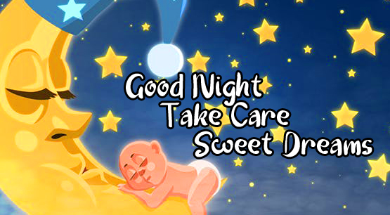 Baby Sleeping on Moon with Good Night Wishing Copy