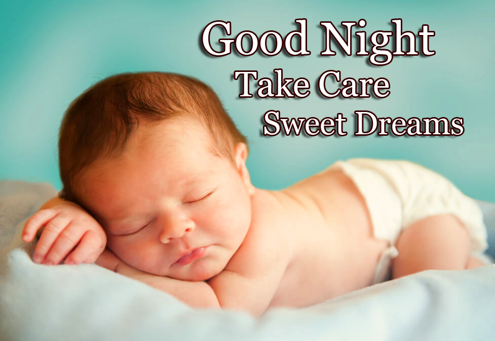 Baby Sleeping with Good Night Wishing Copy