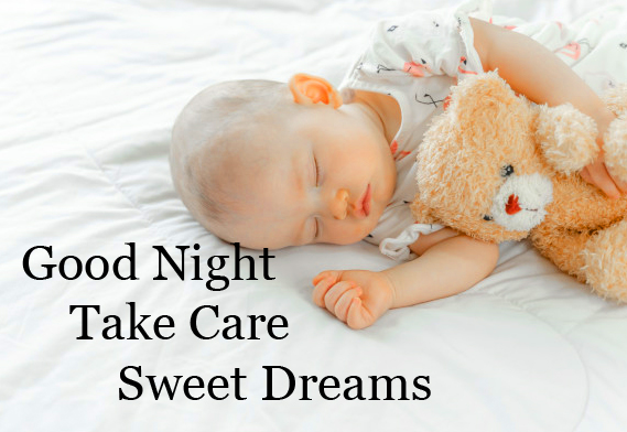 Baby Sleeping with Teddy and Good Night Wish Copy