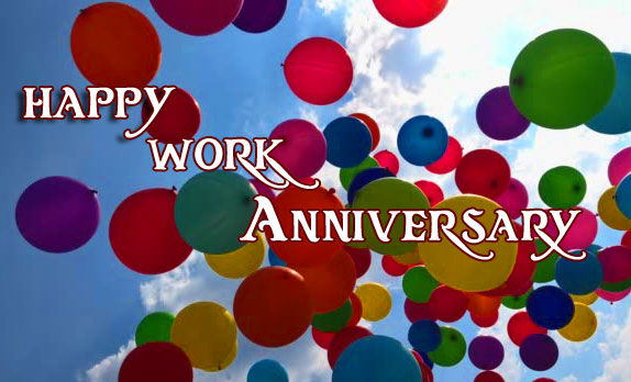 Balloons in Sky with Happy Work Anniversary Wishing