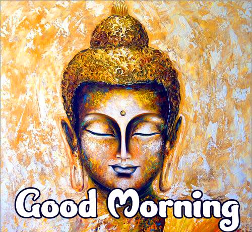 Beautiful Good Morning Wishing on Buddha Photo