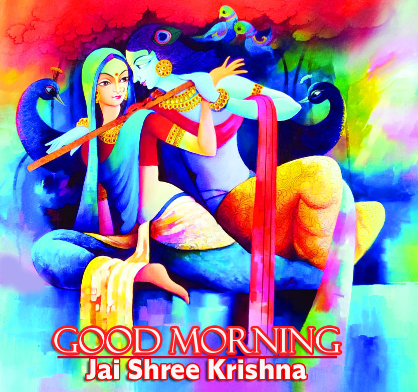 Beautiful Krishna Painting with Good Morning Message