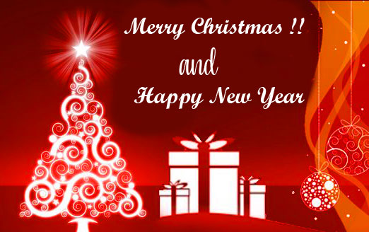 Beautiful Merry Christmas and Happy New Year Wallpaper