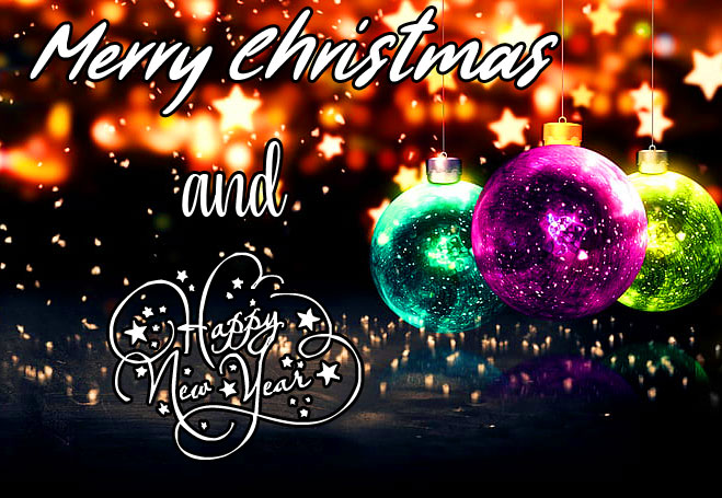 Beautiful Merry Christmas and Happy New Year Wish Wallpaper