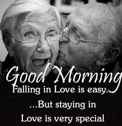 Beautiful Old Couple with Good Morning Wishing