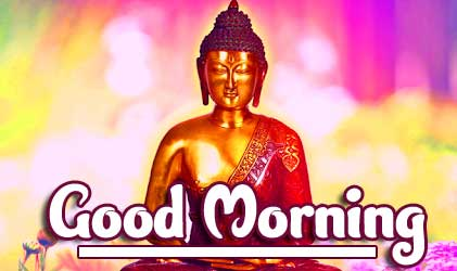 Beautiful Painting of Buddha with Good Morning Wishing