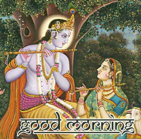 Beautiful Radha and Krishna Pic with Good Morning Image