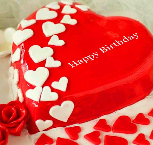 Beautiful Red Cake with Happy Birthday Wih