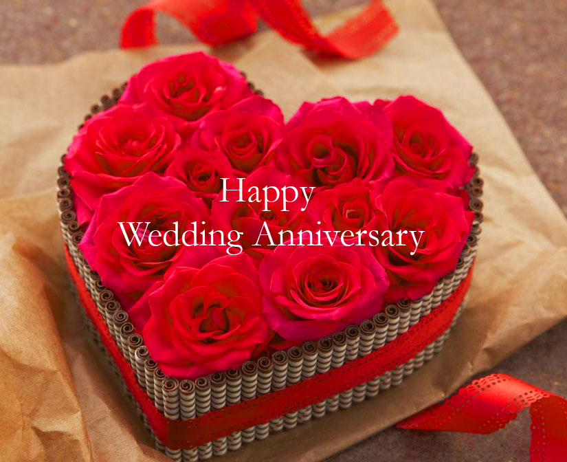 Beautiful Red Rose with Happy Wedding Anniversary Image