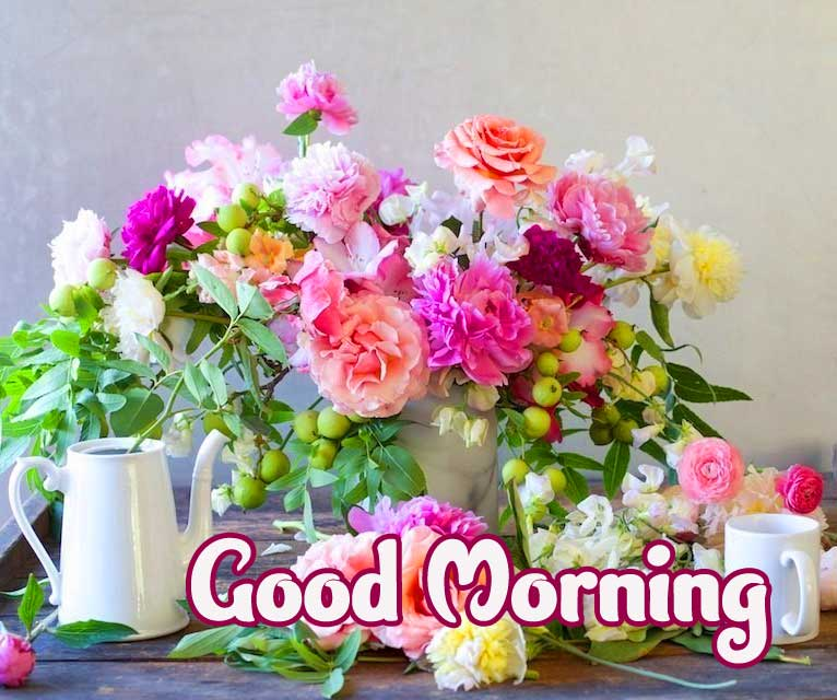 Beautiful Vase of Colourful Flowers with Good Morning Greeting