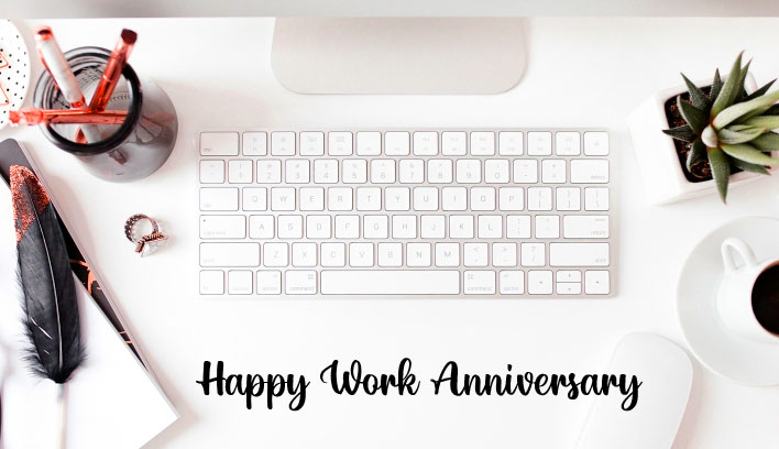 Beautul Working Situation with Happy Work Anniversary Wishing