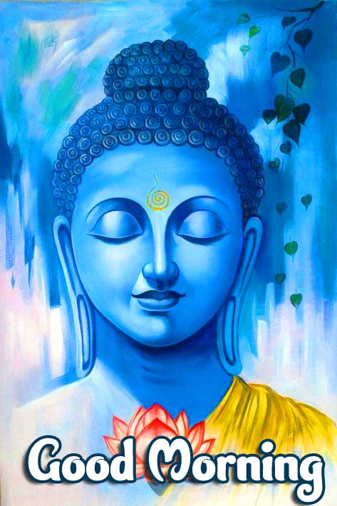 Blue Buddha Painting with Good Morning Wishing