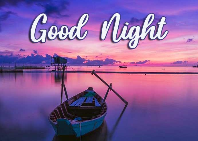 Boat Scenery Good Night Wishing Image