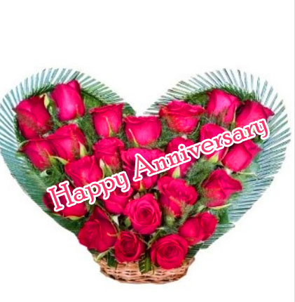 Bouquet of Red Roses with Happpy AnniversaryWishing