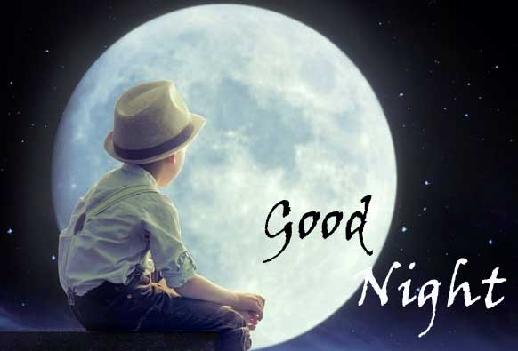 Boy in Moonlight with Good Night Message