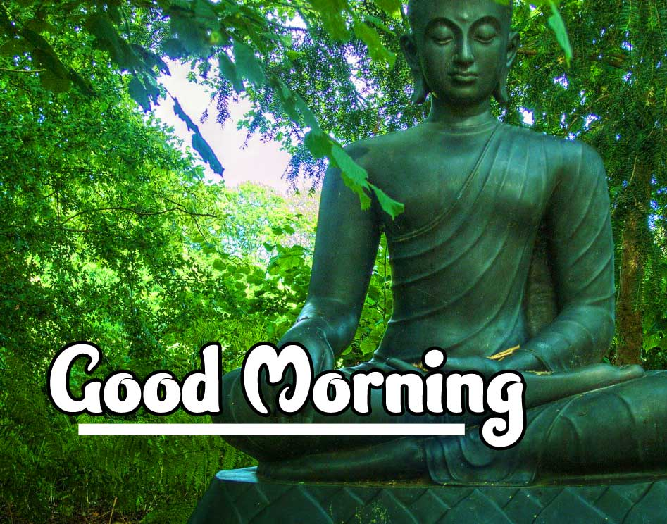 Buddha Statue with Good Morning and Happy Day Wishing
