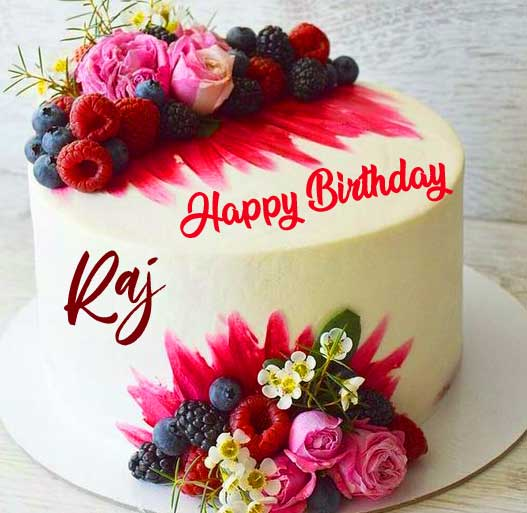 Cake with Flowers and Happy Birthday Wishing