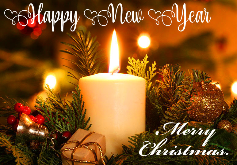 Candle with Merry Christmas and Happy New Year Wish