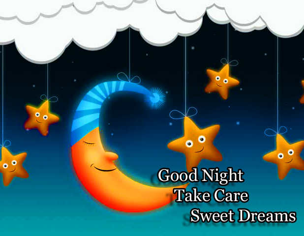 Cartoon Moon with Good Night Wishing