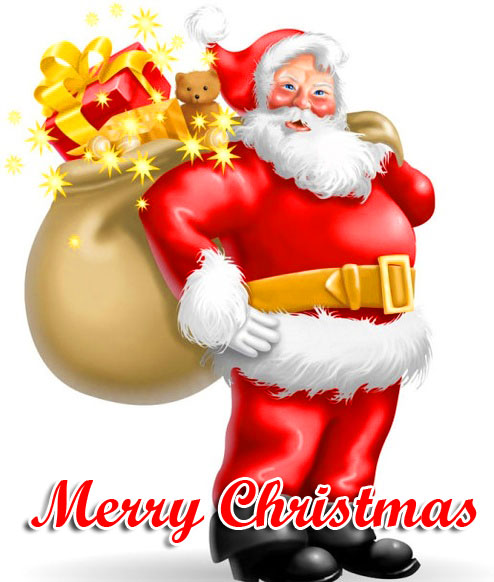 Cartoon Santa with Merry Christmas Message