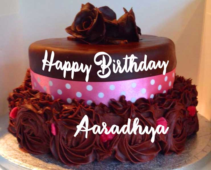 Chocolate tiered Cake with Happy Birthday Greeting