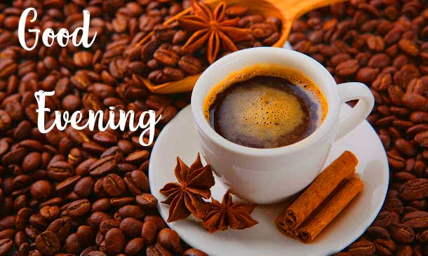 Cinnamon and Coffee Good Evening Wishing Image
