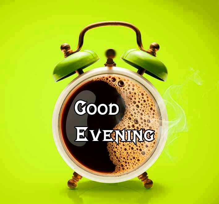Coffee Clock with Good Evening Image