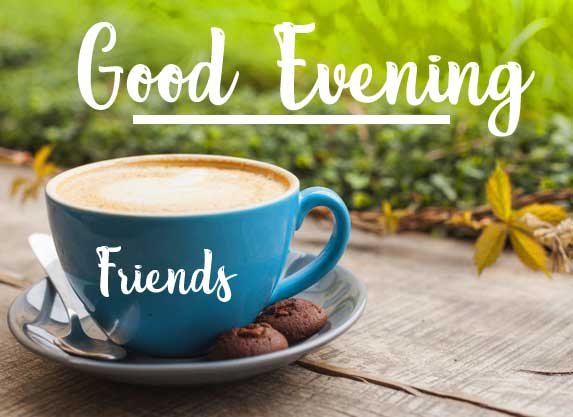 Coffee Cup on Wooden Platform with Good Evening Wishing