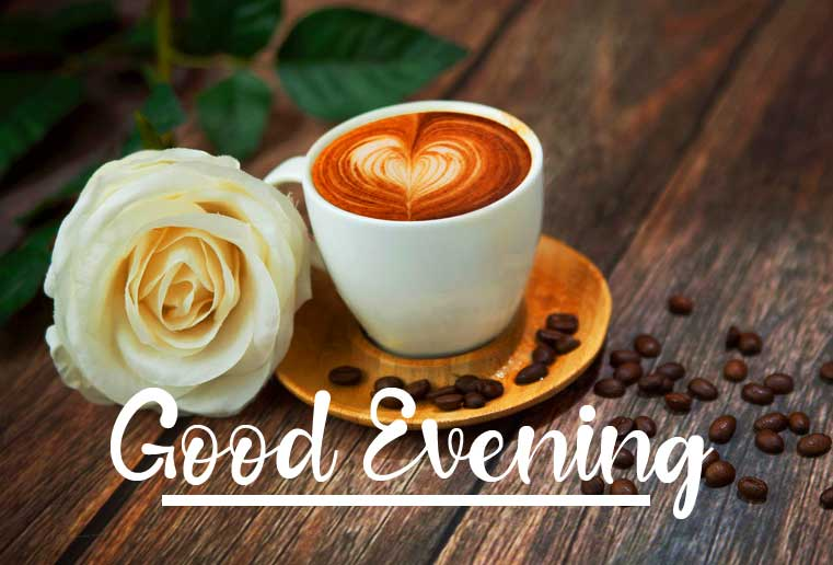 Coffee and Rose Good Evening Image
