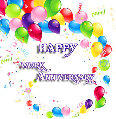 Colourful Balloons with Happy Work Anniversary Image