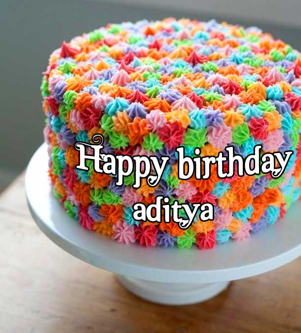 Colourful Cake with Happy Birthday Wishing
